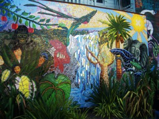 Jungle mural in the 24th Street and York mini-park