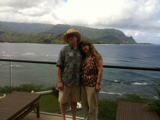 Shannon and me in front of Hanalei Bay and Bali Hai