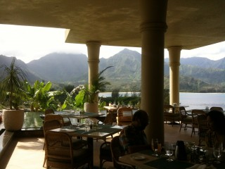 View from the St. Regis Hotel (Princeville, Kauai) Makana Terrace