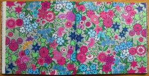 silver background pink blue flowers