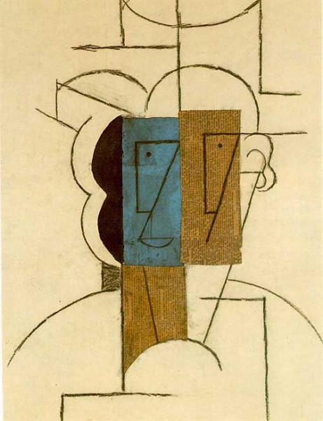 Picasso: Man with hat collage 1912