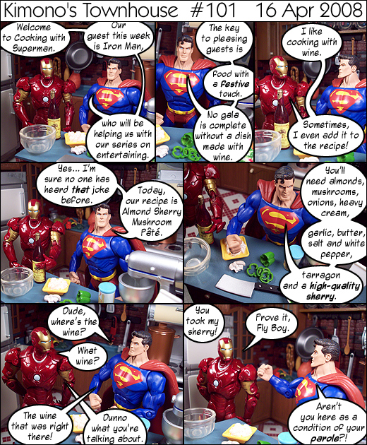 Iron Man steals Superman's wine