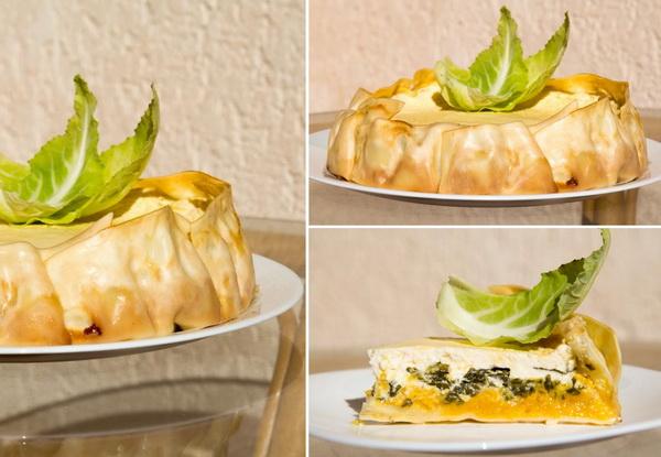 Лазанья_пирог с тыквой, шпинатом, творогом