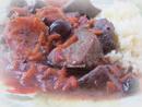 Печень маринованая в соевом соусе с приправами и тушенная с яблоками и черной смородиной_новый размер