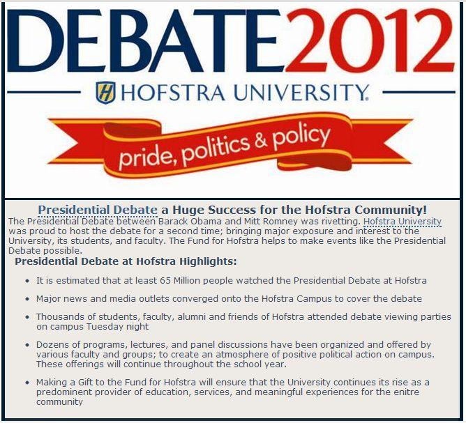 Hofstra post-debate solicitation