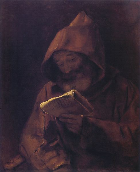 rembrandt reading monk