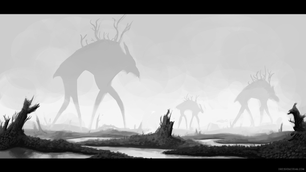 fantasy monsters fantasy art grayscale monochrome swamp stephen king 1920x1080 wallpaper_wallpaperswa.com_13