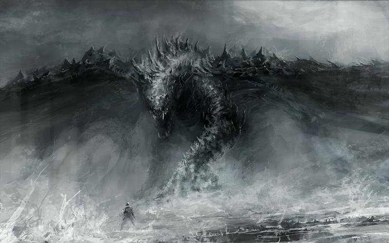 black and white dragons monsters fantasy art grayscale artwork drawings 1920x1200 wallpaper_www.wallpaperhi.com_18