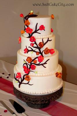 431 Red & Orange Cherry Blossom Wedding Cake