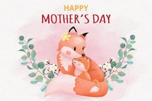 happy-mothers-day-card-with-foxes-illustration-free-vector