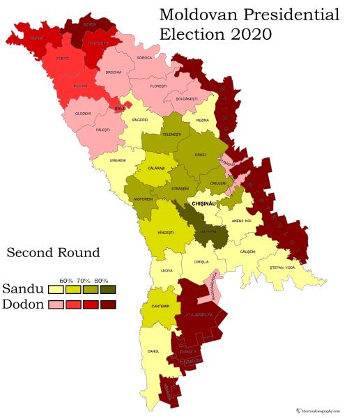 Карта предварительных результатов президентских выборов в Молдове