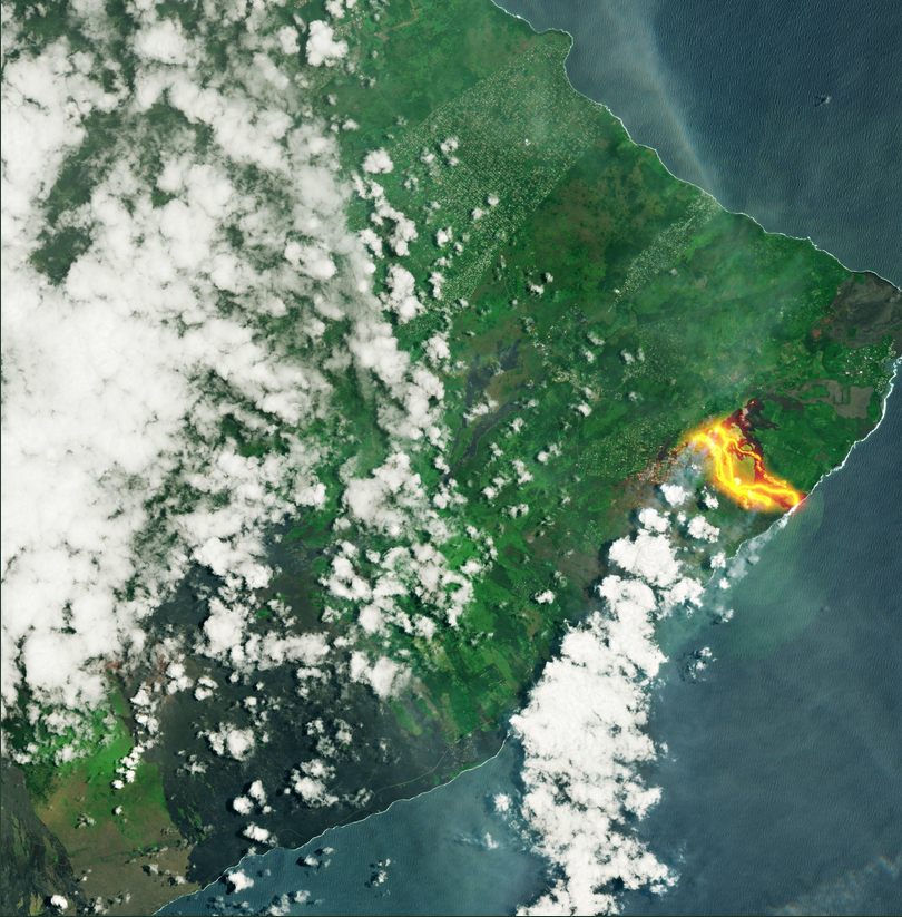 The satellites captured the effects of the eruption of Kilauea Volcano, Kilauea, images, streams, start, aid, Shooting, Landsat, satellite, installed, instrument, Next, done, image, visible, clearly, Sentinel2B, satellite, made, conducted