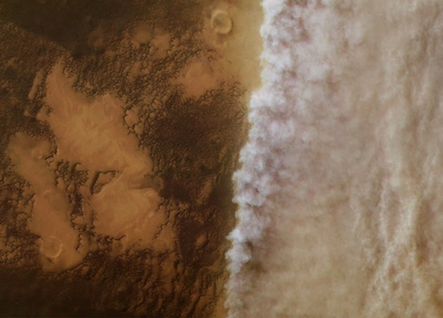Martian dust storm began to dissipate Opportunity, atmosphere, Mars, surface, Martian, survive, temperatures, rover, almost, last, global, atmosphere, view, started, photos, space, recent, wind, raise, more
