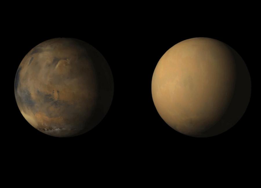 Марс до и во время глобальной пылевой бури