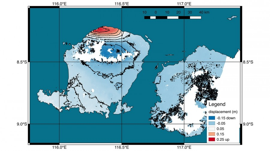 The satellites measured the deformation of the surface as a result of the island's earthquake, earthquake, Lombok, Sentinel1A, after August, located, the epicenter, demonstrates, visually, the earthquakeMap, island, immediately, Sentinel1B, coast, filmed, Sentinel1B, satellites, northwestern, lifting