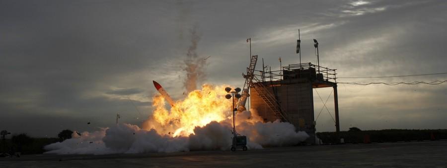 Взрыв ракеты  Momo-2 в замедленной съемке