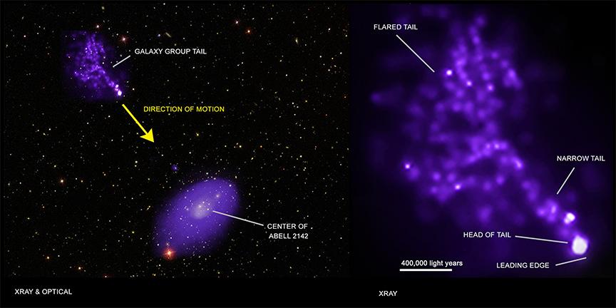 Chandra сфотографировал газовый хвост протяженностью в миллион световых лет