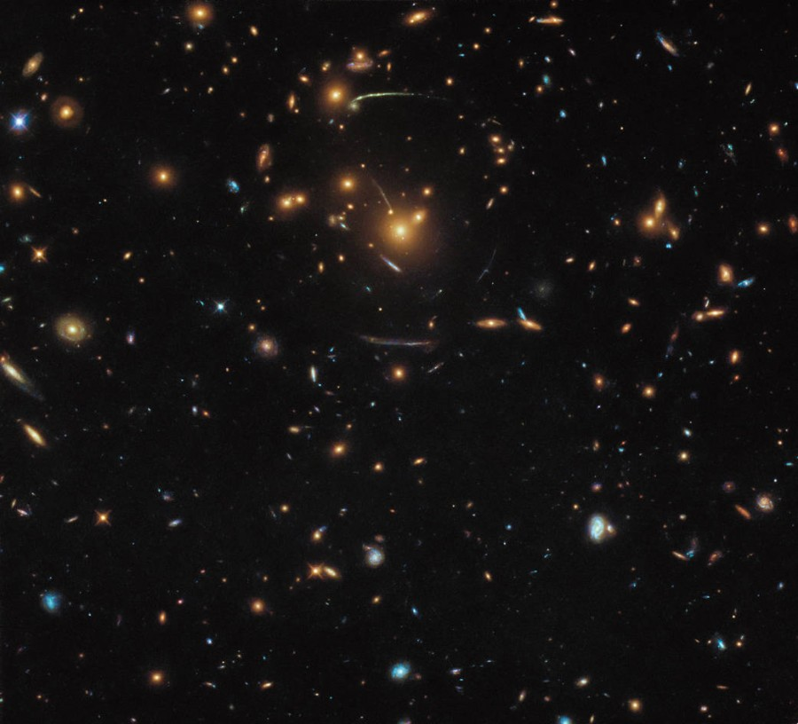 Northern Earth, galaxy cluster SDSS J1050 + 0017 and atmospheric currents of Jupiter can be seen, done, stripes, cloudy, sealed, atmosphere, Jupiter, part, left, third, finally, which, different, images given freaky