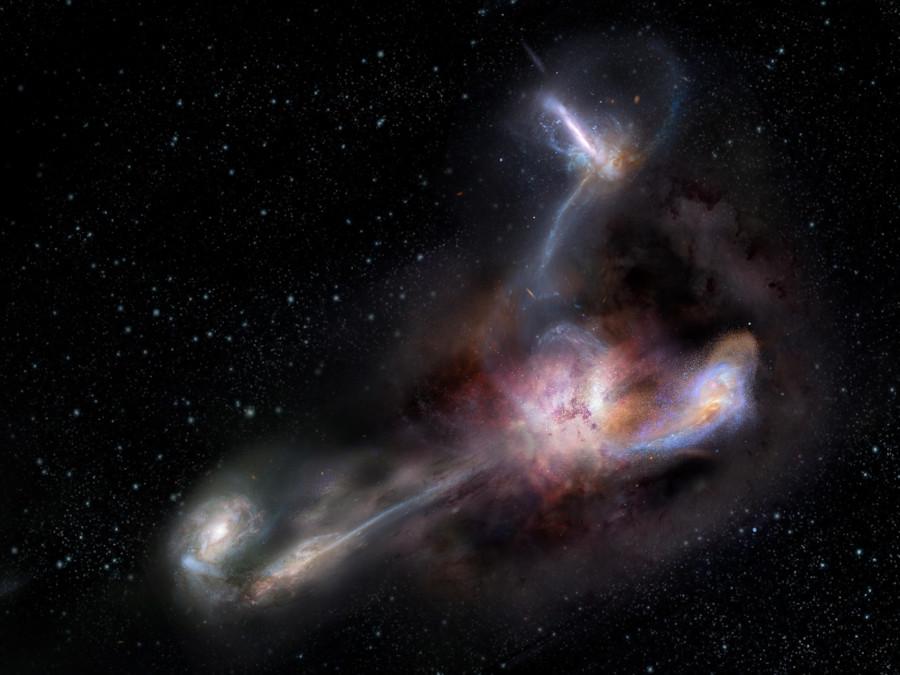 Астрономы увидели тройной галактический каннибализм