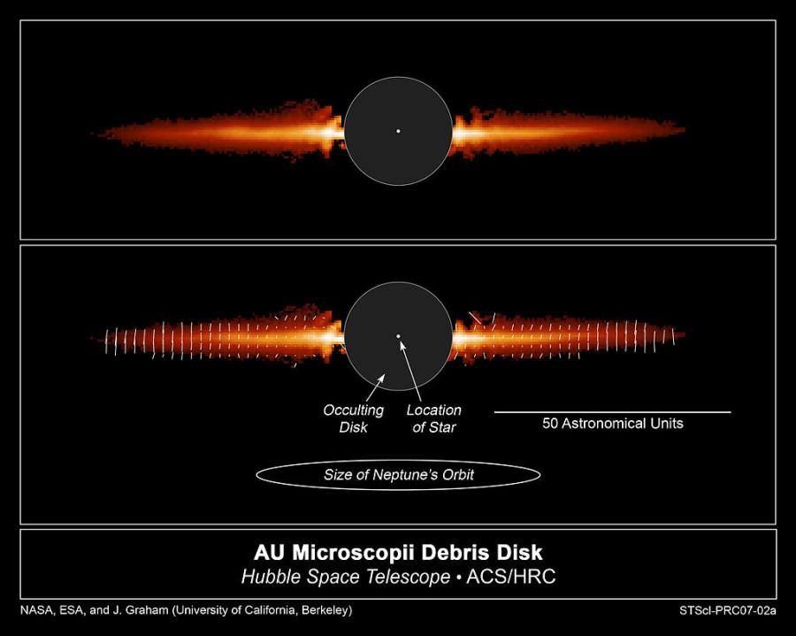 «Хаббл» увидел разрушение осколочного диска вокруг красного карлика