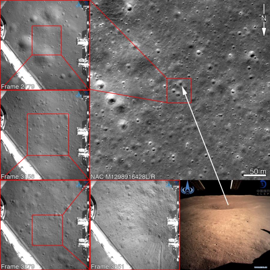Район посадки «Чанъэ-4» на фотографии LRO