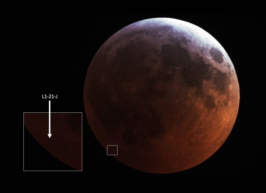 Уточнены размеры метеорита упавшего на Луну во время затмения