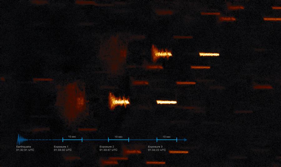 Трясущиеся звезды над Ла-Силья землетрясения, влияние, звезды, Земли, после, снимок, астрономов, TAROT, изображения, Комкибо, экспозиции, повторяется, каждой, секунд, регистрация, примерно, справа, последнего, через, закончилась