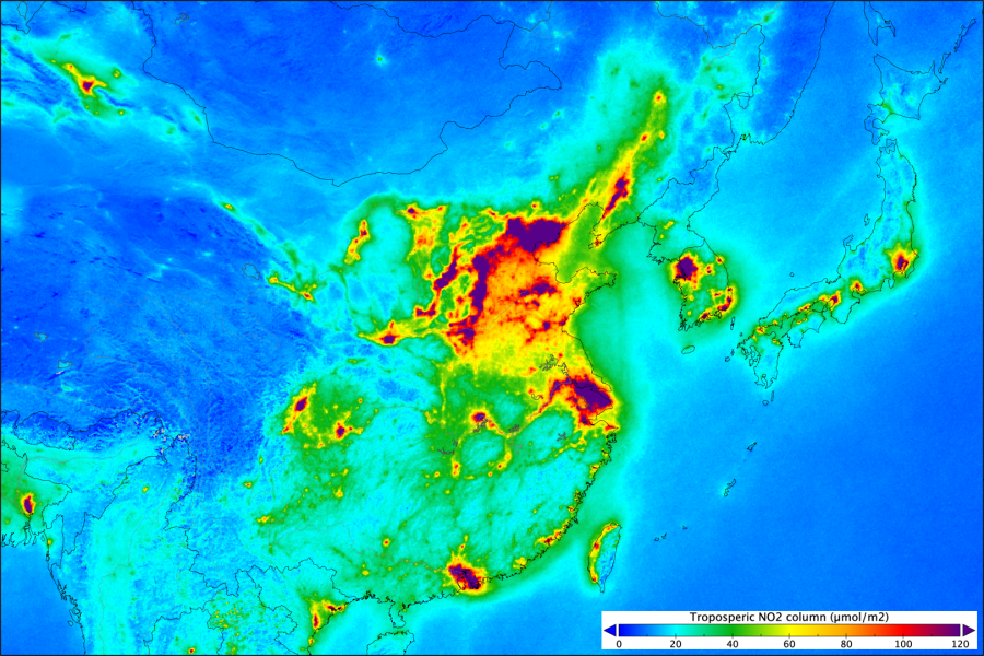 Карта выбросов диоксида азота от спутника Sentinel-5P азота, вызывать, источники, концентрациях, демонстрирует, карта, Опубликованная, основные, образования, Китае, расположены, этого, сгорания, Западной, ископаемого, сжигания, результате, атмосферу, топлива, тепловых