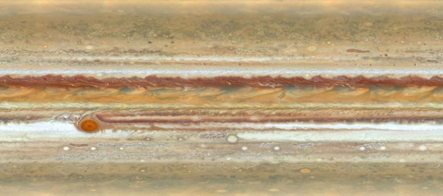 Портрет гиганта Юпитера, «Хаббла», также, можно, «Хаббл», демонстрирует, нескольких, планеты, потоков, существования, назвать, уменьшенными, версиями, атмосфере, подобных, формаций, может, составлять, часов, столетийИзображение