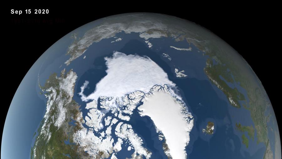 Минимум арктического льда 2020 стал вторым в истории