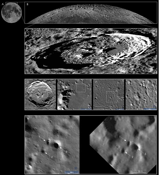 В северном полярном регионе Луны найдены следы лавовых трубок