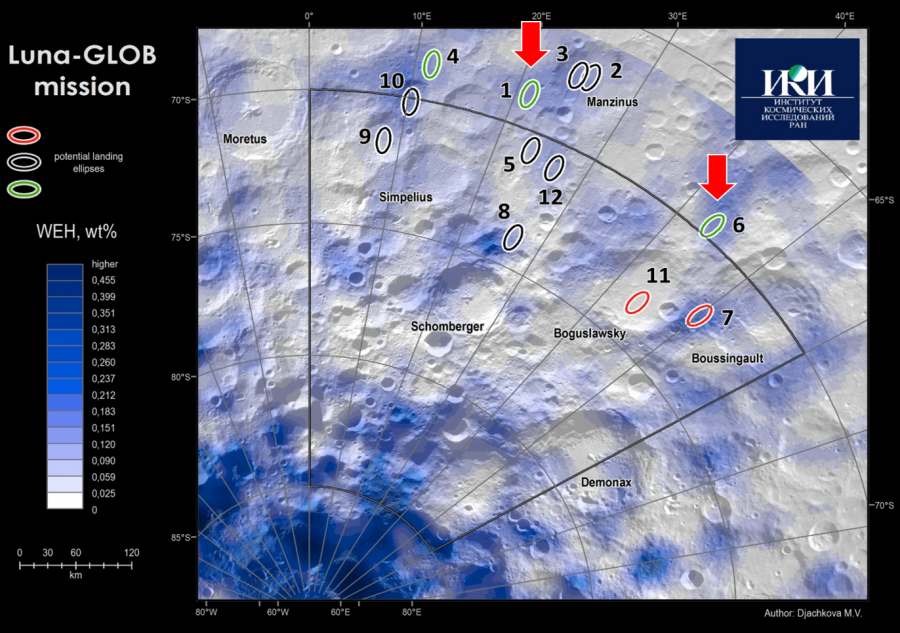 """Potential sites for landing """"Luna-25"""" landing, area, crater, will be, days,""""Luna25"""", should, Manzini, possible, then, be located, the apparatus, """"Luna25"""", space, surface, scientific, this is due, besides, provided"""