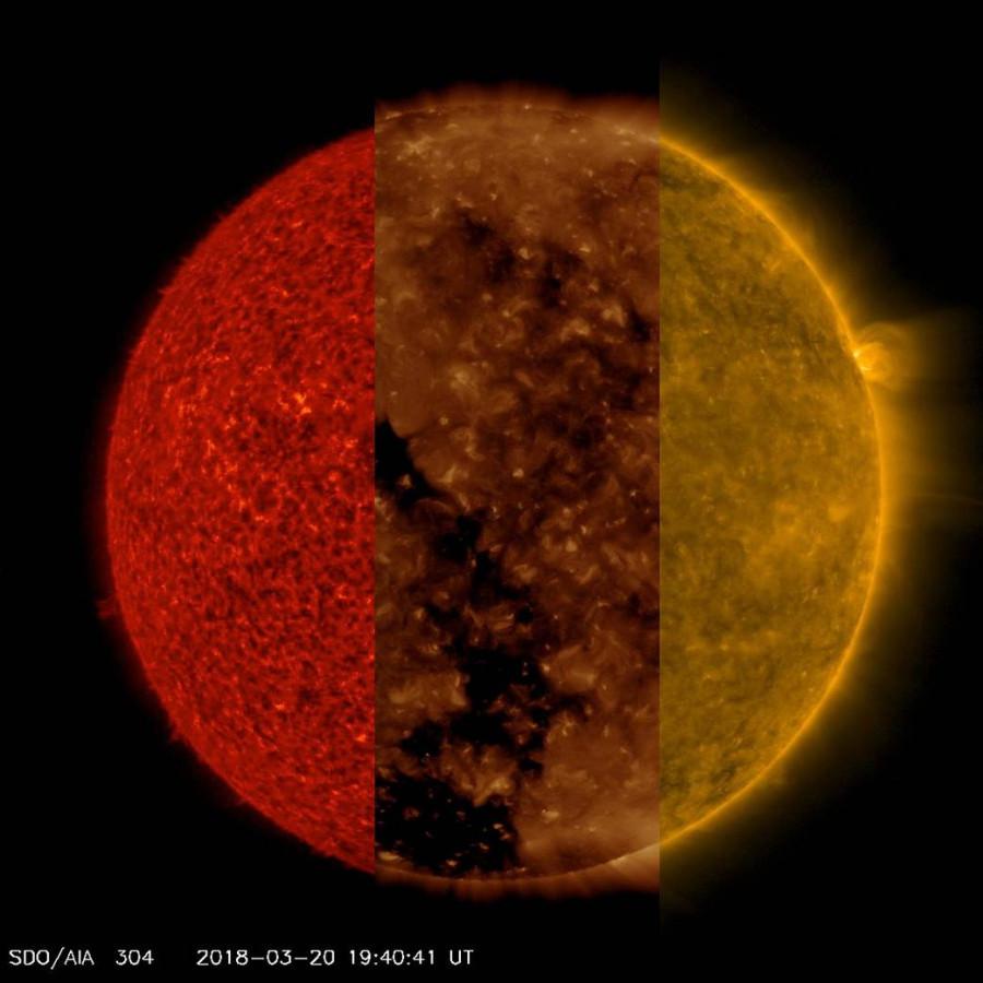Солнце в трех волновых диапазонах