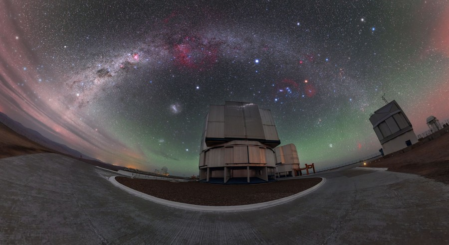 Three Titans and the southern sky over Paranal through, Titan, taken, pictures, image, corresponds, satellite, can, length, waves, Cassini, Orion, see, compiled, parts, star, atmosphere, center, bright, has