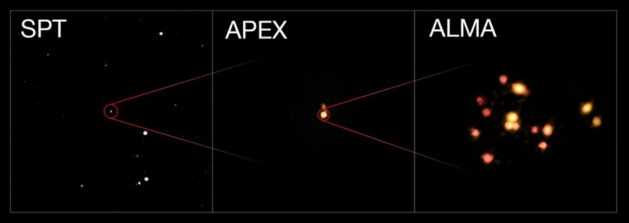 Астрономы увидели зарождение первых гигантских галактических скоплений