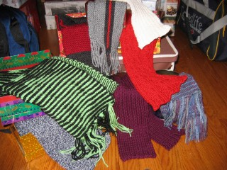 Scarves, about to be packed for gifting