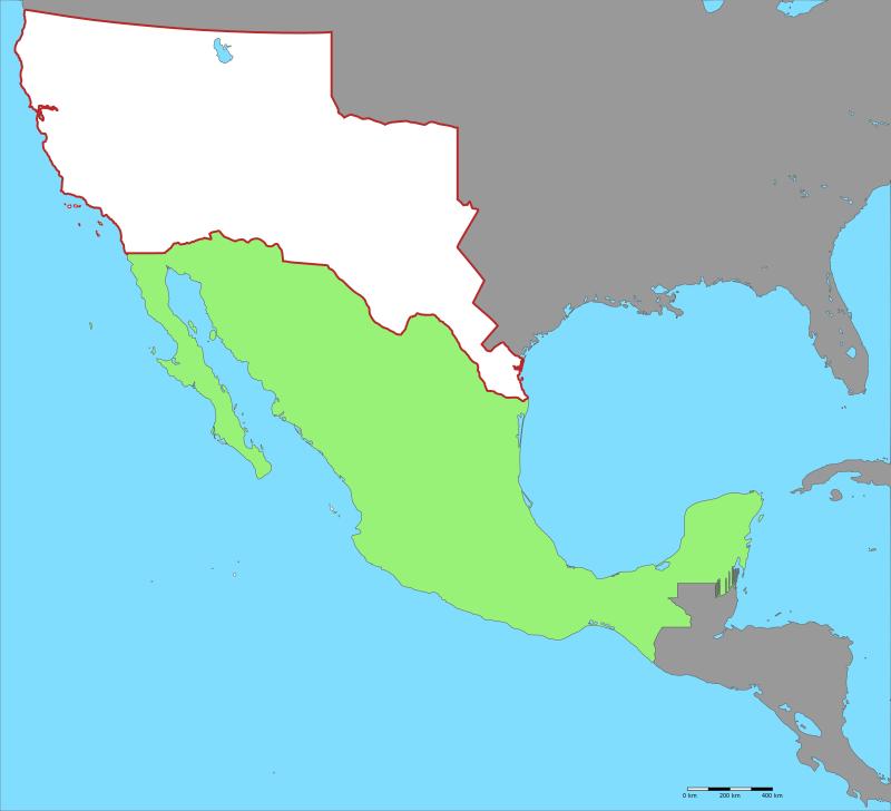 Аннексированная в ходе войны 1846-1848 годов тупыми пиндосами территория Мексики - белым цветом (зеленым - нынешняя территория Мексики). Тупые пиндосы захватили и аннексировали у Мексики огромную территорию - почти половину всей Мексики (1,3 млн. квадратных километров).