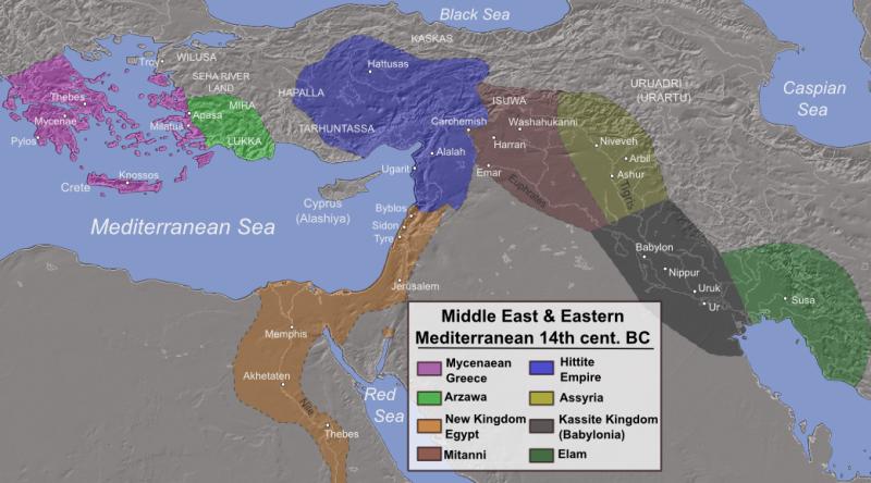 Ближний Восток в 14 веке до н.э. В этот период Израиль был по сути вассалом Египта.