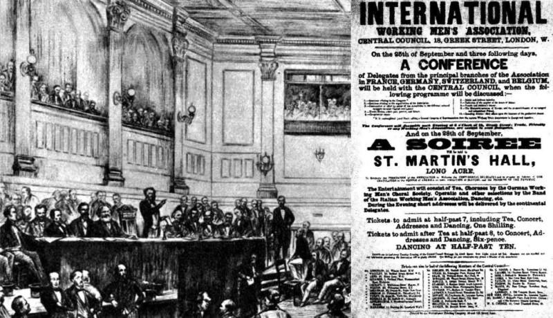 """28 сентября 1864 года был основан Первый интернационал - Международное товарищество рабочих, первая массовая международная организация рабочего класса. После небольшого митинга в поддержку польского восстания """"представители рабочих"""" из разных стран выбрали Генеральный совет во главе с Карлом Марксом и приняли Учредительный манифест, якобы разработанный тем же Марксом. Как нетрудно догадаться, все это мероприятие прошло в Лондоне - в Сент-Мартинс Холле (St. Martin's Hall), в самом центре Лондона на углу улиц Лонг-Эйкр и Эндел-стрит недалеко от Трафальгарской площади. А после этого  мероприятия  - чаепитие и танцы. А при чем здесь сраные бриташки? А они здесь не при чем."""