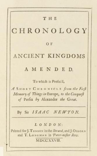 """Обложка книги Ньютона """"Хронология древних царств"""" масонского издания 1728 года."""