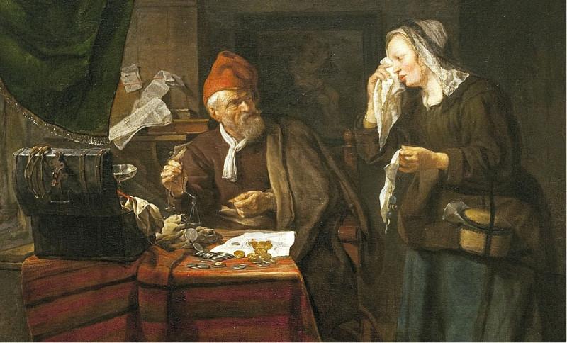 """""""Ростовщик и плачущая женщина"""". В католической Европе ростовщик почти всегда изображался как алчный кровопийца, грабящий бедных людей. У коммунистов были свои предшественники."""