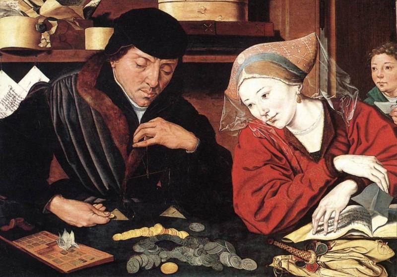"""""""Банкир и его жена"""", картина 1540 года. Добрые католики размышляют о том, являются ли деньги злом или все-таки добром. Жена явно склоняется ко второму мнению, а муж в сомнении."""