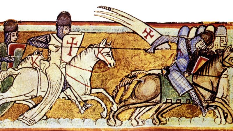 Крестоносцы идут в бой. Средневековая фреска.