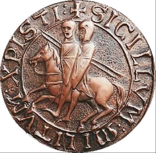 Печать тамплиеров - два лыцаря на одной лошади.