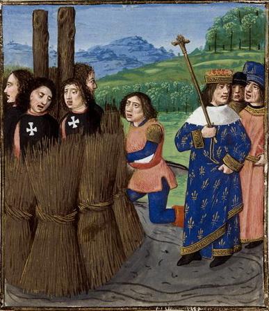 Дегенераты готовятся сжечь дегенератов. Тамплиеров готовят к сожжению на костре. Средневековая миниатюра.