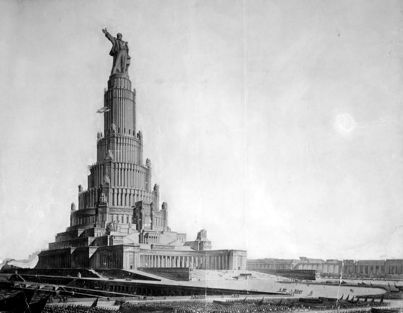 Дворец Советов проекта Щуко и Гельфрейха 1932 года в осовеченной коммунистической Москве. К счастью, неосуществленный.