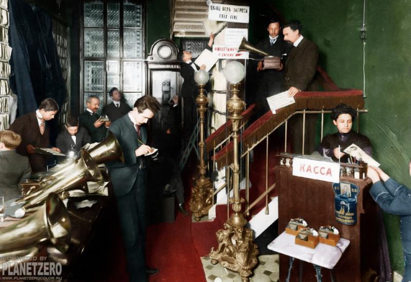 Магазин граммофонов и фонографов в Санкт-Петербурге, 1910 год.