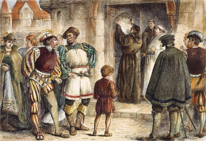 """Немецкий католический священник и доктор теологии Мартин Лютер прибивает 31 октября 1517 года свои """"95 тезисов"""" к дверям церкви в Виттенберге. В этих тезисах Лютер сформулировал наиболее назревшие претензии к католической Церкви, и это событие считается началом движения протестантизма, после чего положение и влияние католического Рима было подорвано очень серьезно и навсегда."""