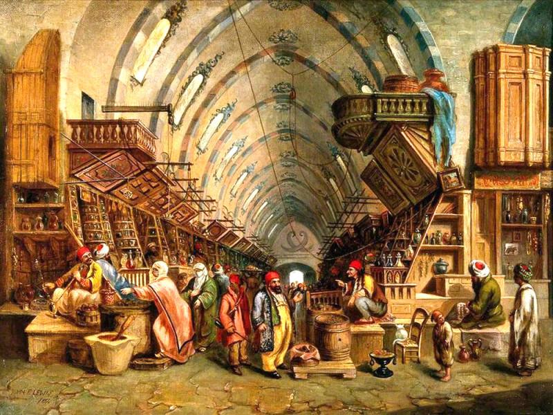 """Рынок в Константинополе был крупнейшим в Средневековье, куда стекались товары как из Индии, Китая и мусульманского Востока, так и из католической Европы и православной Руси. Именно """"на пути из варяг в греки"""" - то есть на торговом пути из Балтики в Византию - и возникли русские города-государства Новгород и Киев."""