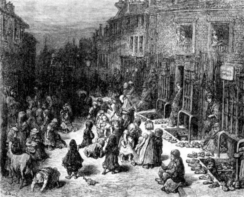 Лондон середины 19 века кишел нищими, бандитами и проститутками.